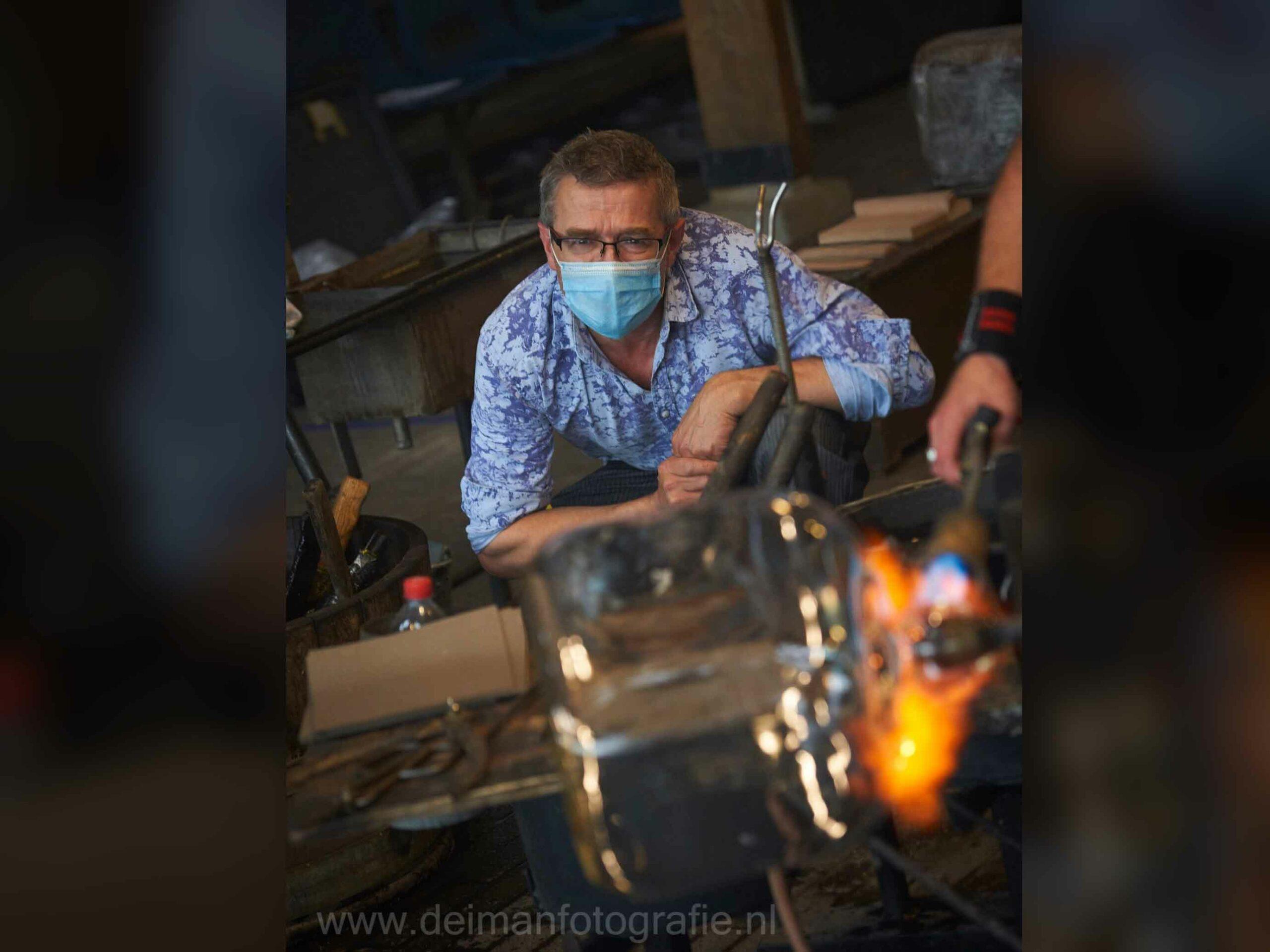 Preparing Glass Sculptures 'Dark Cameras'